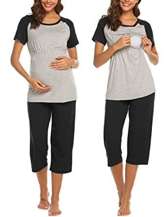 Amazon.com: Ekouaer Women Maternity Pajamas Set Short Raglan .