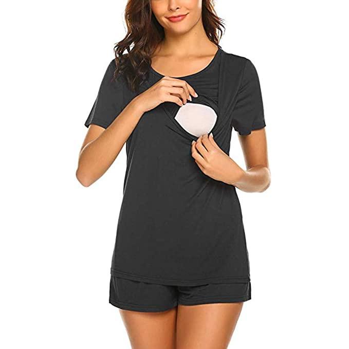 Nursing Pajamas Maternity Pajamas for Hospital Set Short Sleeve .