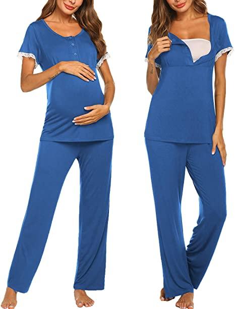 Ekouaer Women's Maternity Nursing Pajamas Set Soft Short-Sleeved .