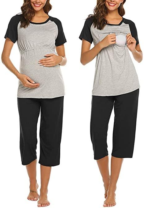 Ekouaer Double Layers Labor/Delivery/Nursing Maternity Pajamas .