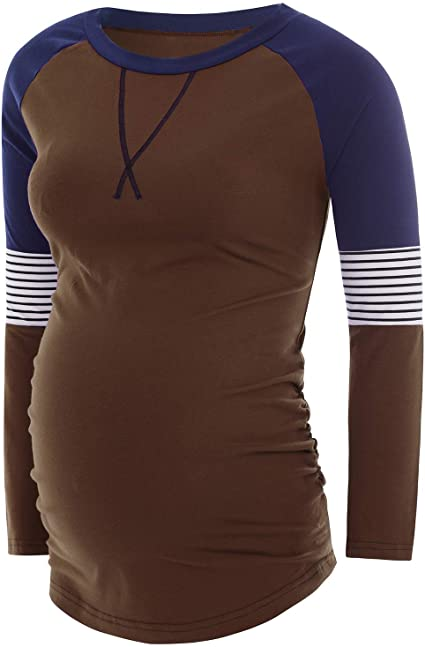 Rnxrbb Women's Long Sleeve Maternity Tunic Tops Ruched Side .