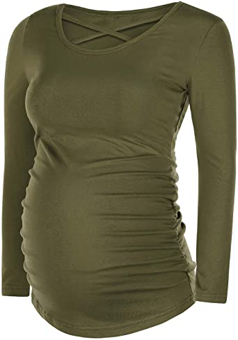 QUNISY Womens Long Sleeve Maternity Shirts Ruched Side Maternity T .