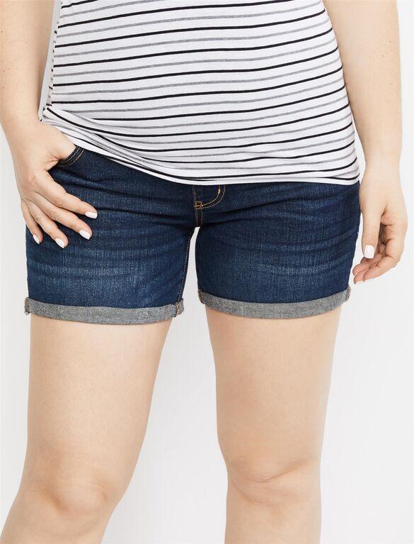 Indigo Blue Secret Fit Belly Roll Hem Maternity Shorts .