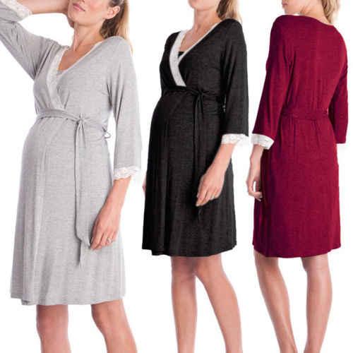 Pregnant Women Nightdress Maternity Sleepwear Feeding Chemise .