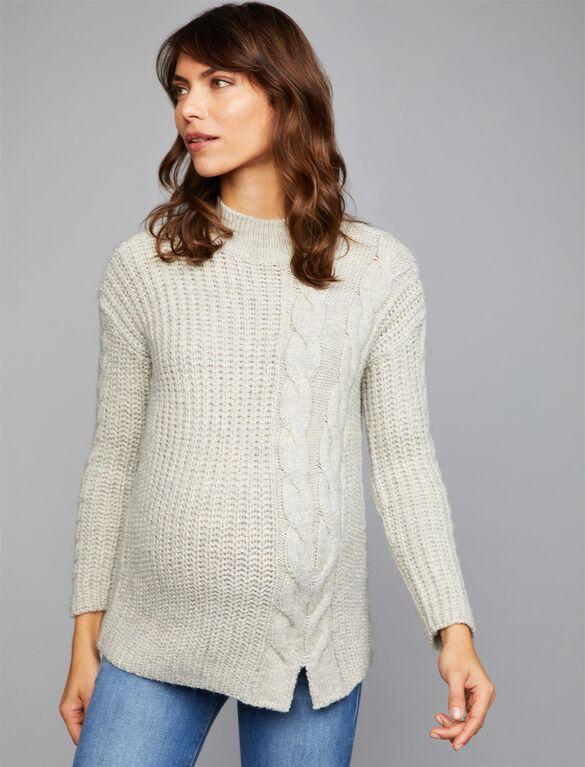 Cable Knit Mock Neck Maternity Sweater | A Pea in the Pod Materni