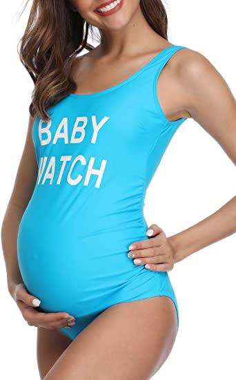 MiYang Women Backless Maternity Swimsuit Letters Printed One Piece .