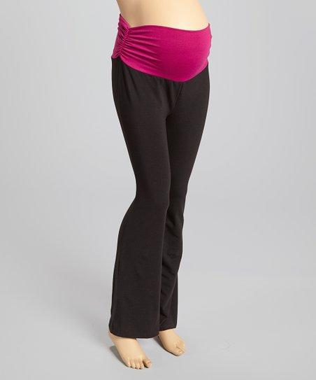 Black Over-Belly Maternity Yoga Pants   Zuli