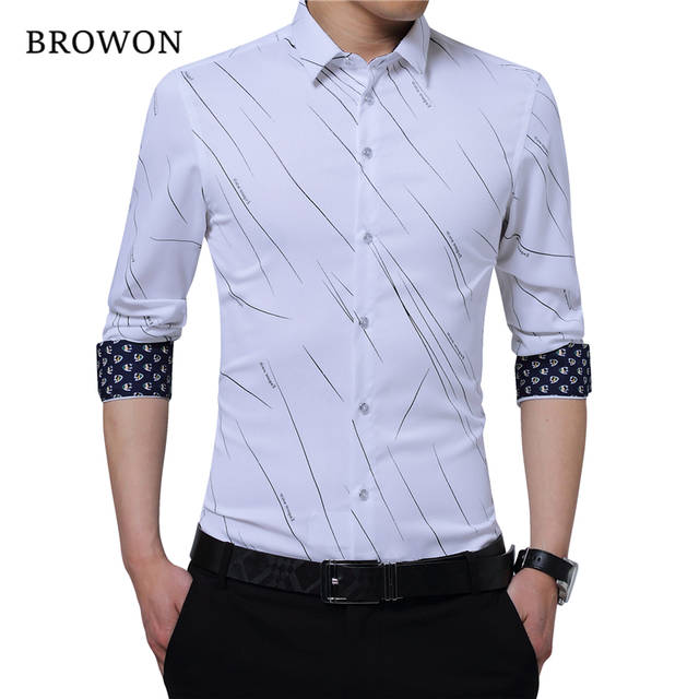 BROWON New Arrival Plus Size Mens Formal Shirts Meteor Print Long .