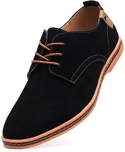 Amazon.com | DADAWEN Men's Classic Suede Leather Oxford Dress .
