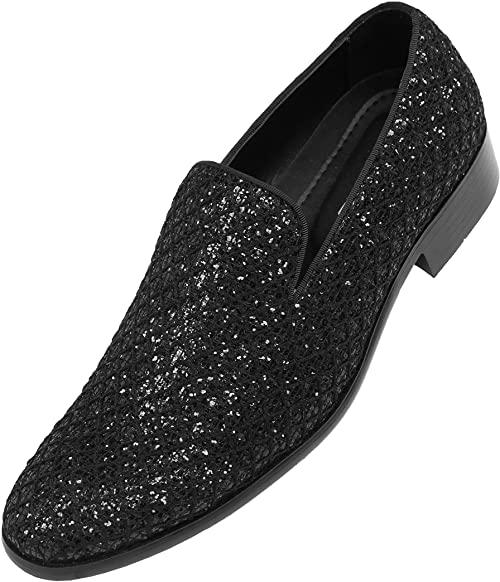 Amazon.com | Bolano Sarlo Mens Dress Shoes Black Metallic Glitter .