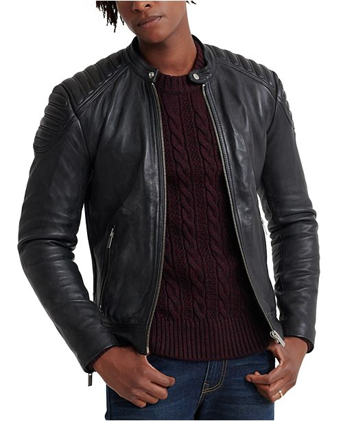 Superdry Men's City Hero Leather Racer Jacket & Reviews - Coats .