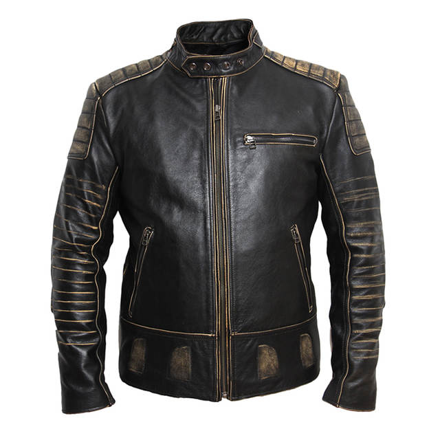 MAPLESTEED Vintage Motorcycle Jacket Men Leather Jacket 100 .