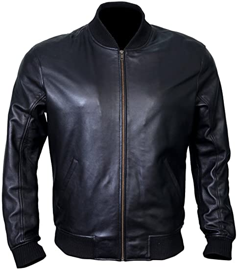 Bomber Jacket Men, Black Genuine Lambskin Leather Jacket for Men .