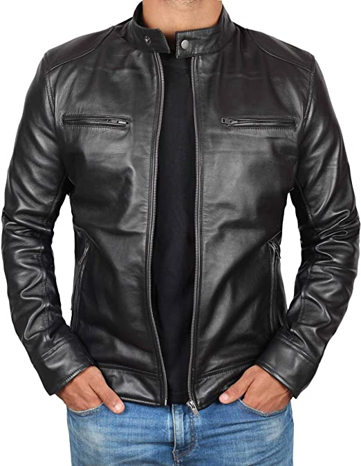 Genuine Black Leather Jacket Men - Lambskin Lightweight Mens .