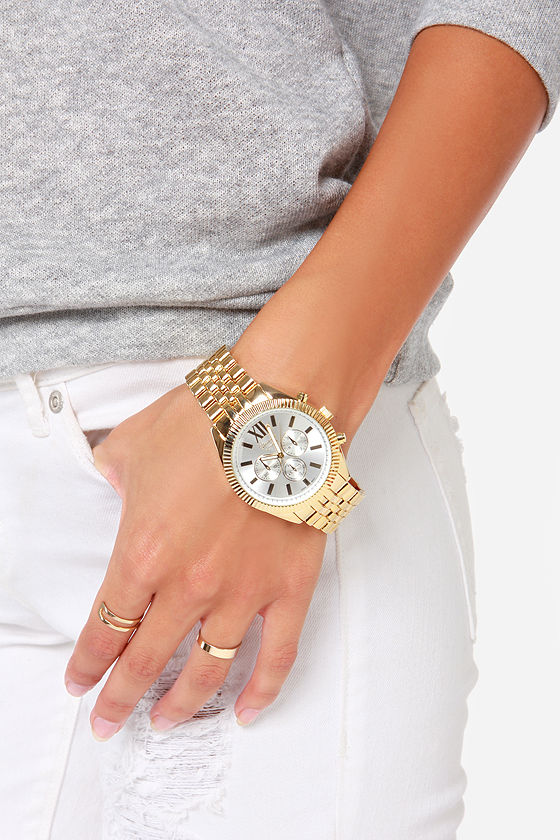 Cute Gold Watch - Boyfriend Watch - $22.