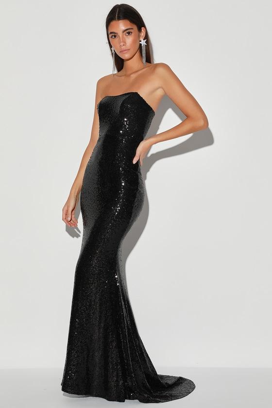 Black Strapless Dress - Sequin Maxi Gown - Mermaid Maxi Dre