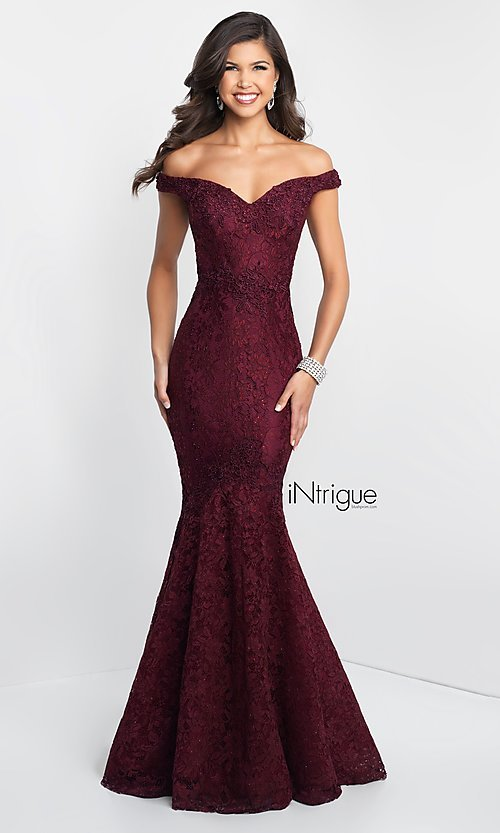 Mermaid Long Lace Off-Shoulder Prom Dress - PromGi