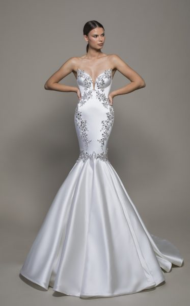 Strapless Sweetheart Neckline Satin Mermaid Wedding Dress With .