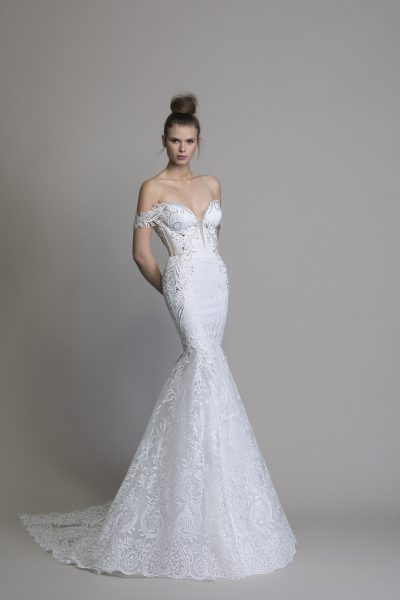 Off The Shoulder Guipure Lace Mermaid Wedding Dress With Crystal .