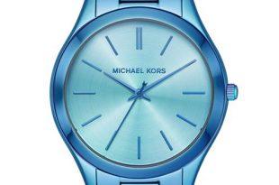 Michael Kors Women's Slim Runway Iridescent Blue IP Stainless .