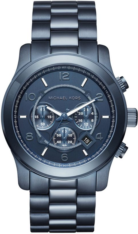 Men's Michael Kors Runway Chronograph Blue Steel Watch MK85