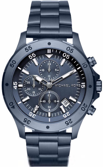 Men's Michael Kors Walsh Blue Tone Steel Chronograph Watch .