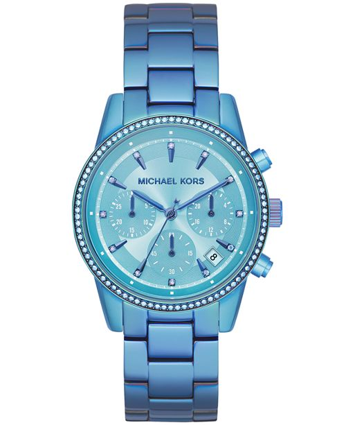 Michael Kors Women's Ritz Iridescent Blue IP Stainless Steel .