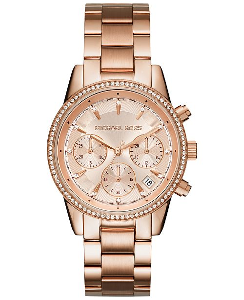 Michael Kors Women's Chronograph Ritz Stainless Steel Bracelet .