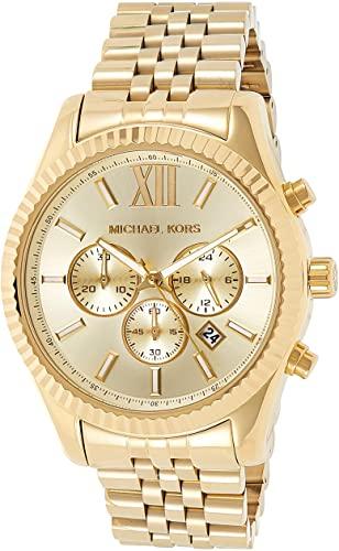 Amazon.com: Michael Kors Lexington Gold-Tone Stainless Steel Watch .