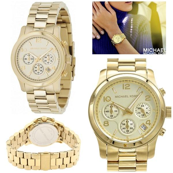 Michael Kors Women's Midsized Chronograph Gold Tone Watch MK5055 .
