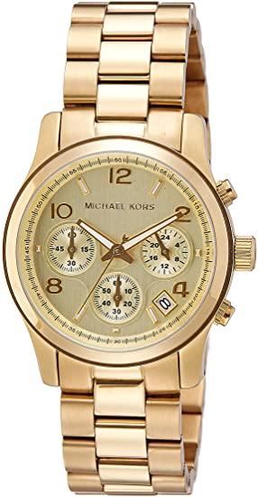 Amazon.com: Michael Kors Midsized Chronograph Gold Tone Womens .