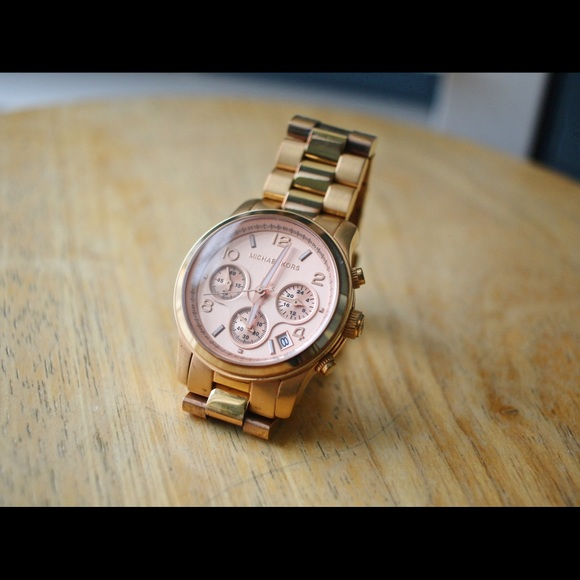 Michael Kors Accessories | Mk5128 Rose Gold Chronograph Watch .