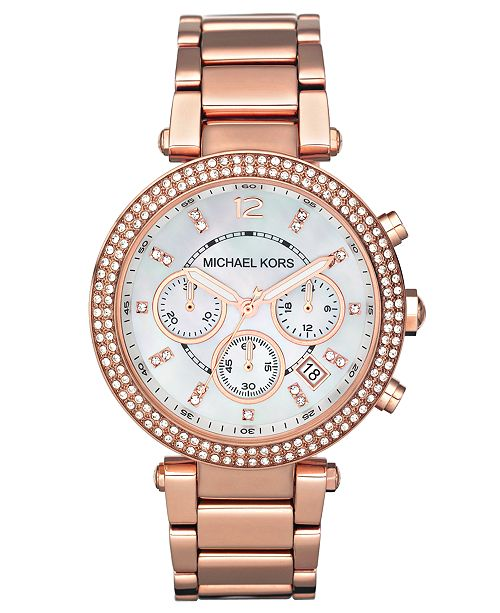 Michael Kors Women's Chronograph Parker Rose Gold-Tone Stainless .