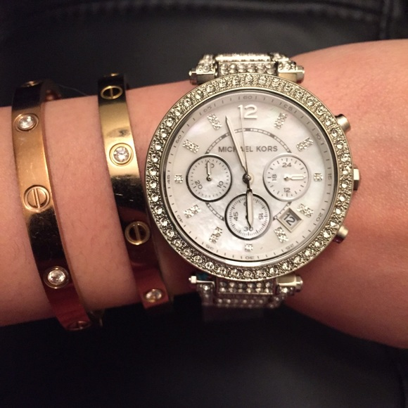 Michael Kors Accessories | Parker Silver Glitz Watch Camille .