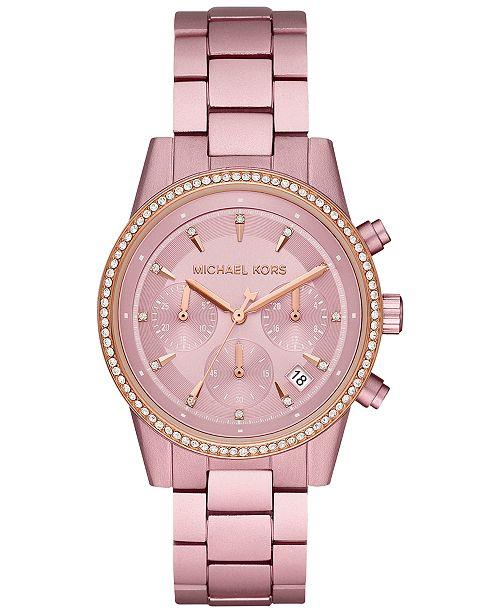 Michael Kors Women's Chronograph Ritz Pink Aluminum Bracelet .