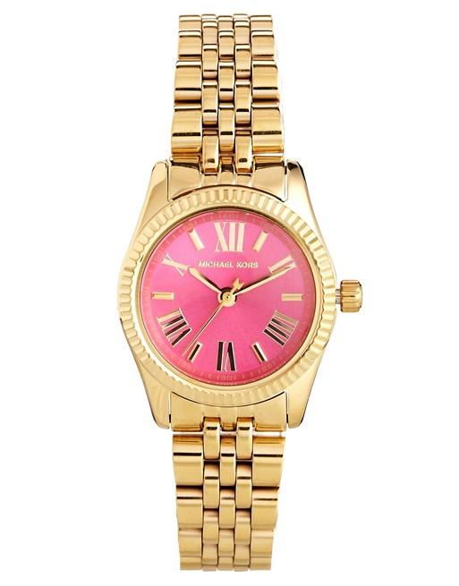 Michael Kors Mini Lexington Pink Face Gold Watch | AS