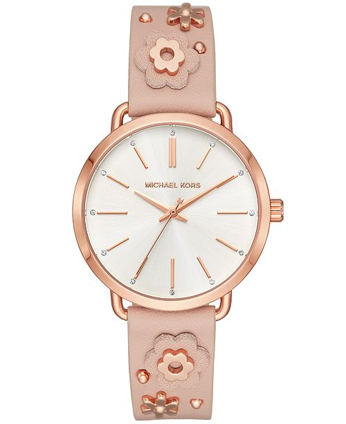 Michael Kors Women's Portia Pink Leather Floral Strap Watch 37mm .