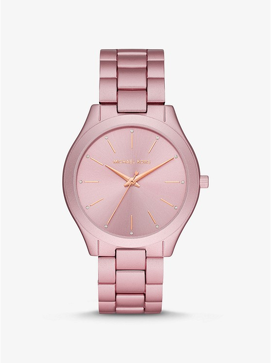 Oversized Slim Runway Pink-tone Aluminum Watch | Michael Ko