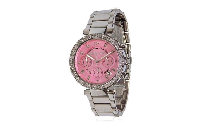 Michael Kors Womens Silver Tone Pink Face Parker 39mm Watch MK6105 .