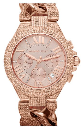 Michael Kors 'Camille' Crystal Encrusted Chain Link Watch | Reloj .