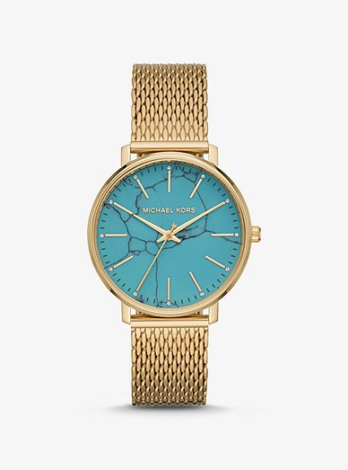 Pyper Gold-tone Mesh And Turquoise Watch   Michael Ko