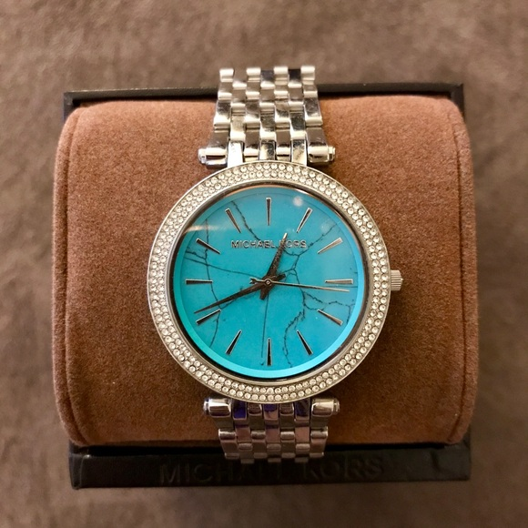 Michael Kors Accessories   Turquoise Stone Face Silver Watch .