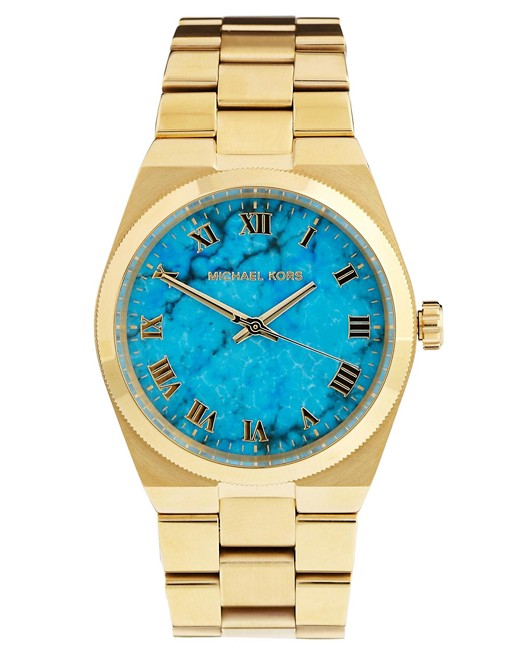 Michael Kors Turquoise Face Gold Watch   AS