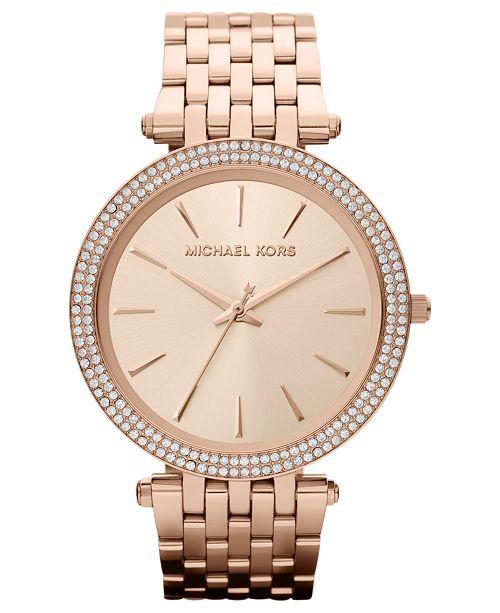 Michael Kors Women's Darci Rose Gold-Tone Stainless Steel Bracelet .