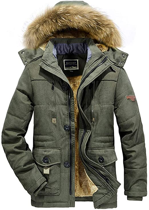 Modern Fantasy Men's Winter Padded Parka with Detachable Fur Hood .