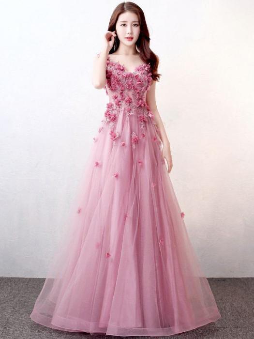 Chic Pink Prom Dress A-line V-neck Applique Modest Prom Dress .