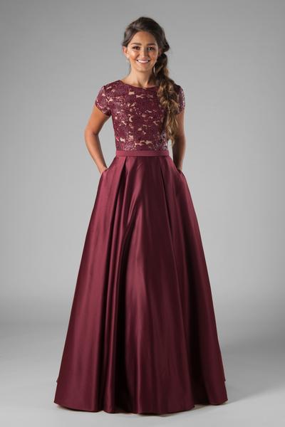 Modest Prom Dresses : Harlo Burgundy – LatterDayBri