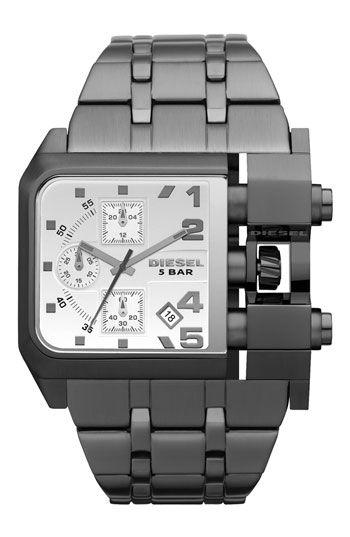 DIESEL® Large Square Gunmetal Bracelet Watch | Montre diesel .