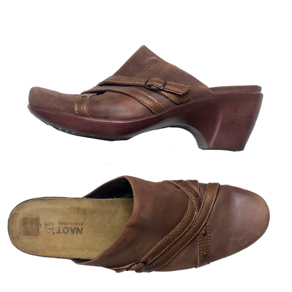 Naot Shoes | Wood Bottom Slip On Mules Clogs | Poshma