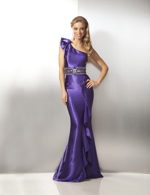 One Shoulder Purple or White Prom Dress 171